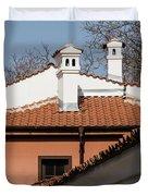 Charming Chimneys - White Stucco And Terracotta Juxtaposition Duvet Cover