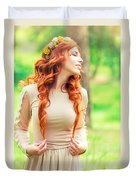 Charming Young Woman In The Forest Duvet Cover