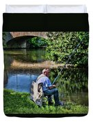 Chartres, France, A Good Day Fishing Duvet Cover