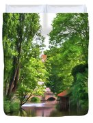 Chartres, France, Park On L'eure River Duvet Cover