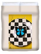Checker Plate And Blue Butterfly Duvet Cover