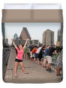 Cheerful Attractive Female Austinite Waves Her Hands With Excitement On Seeing The Austin Bats Duvet Cover