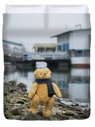 Cheerful Teddy Bear In Knitted Scarf Stand By The Riverside Beside The Port Duvet Cover