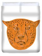 Cheetah Head Drawing Duvet Cover