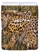 Cheetah In The Grass Duvet Cover