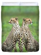 Cheetahs Acinonyx Jubatus In Forest Duvet Cover