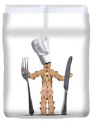 Chef Box Man Character With Cutlery Duvet Cover