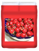 Cherries In A Bowl Close-up Duvet Cover