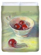 Cherries In A Cup On A Sunny Day Painting Duvet Cover