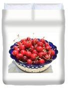 Cherries In Blue Bowl Duvet Cover