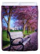 Cherry Blossom Bench Duvet Cover