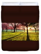 Cherry Blossom In A Park At Dawn Duvet Cover
