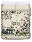 Cherry Blossom Tidalbasin View Duvet Cover