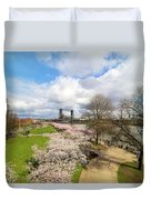 Cherry Blossom Trees At Portland Waterfront Duvet Cover