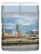 Cherry Blossom Trees At Portland Waterfront Park Duvet Cover