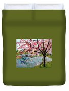 Cherry Blossoms And Bridge 3 201730 Duvet Cover