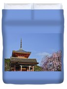 Cherry Blossoms And Kiyomizu-dera Duvet Cover