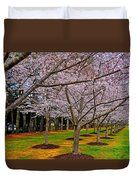 Cherry Blossoms At The Beach Duvet Cover
