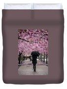 Cherry Blossoms In The Rain Duvet Cover