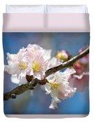 Cherry Blossoms On Blue Duvet Cover