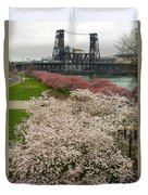 Cherry Blossoms Trees Along Portland Waterfront Duvet Cover