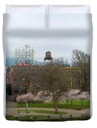 Cherry Blossoms Trees In Portland Old Town Duvet Cover