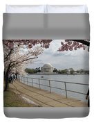 Cherry Blossoms With Memorial Duvet Cover