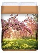 Cherry Flowers Garden Illuminated With Sunrise Beams Duvet Cover