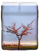 Cherry Tree Standing Alone In A Park, Lit By The Light  Duvet Cover