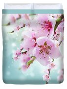 Cherry Tree Twig On Blue Duvet Cover