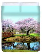 Cherry Trees In The Park Duvet Cover