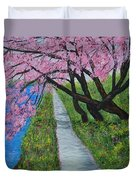 Cherry Trees- Pink Blossoms- Landscape Painting Duvet Cover