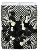 Chessboard And 3d Chess Pieces Composition Duvet Cover