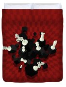 Chessboard And 3d Chess Pieces Composition On Red Duvet Cover