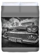 Chevrolet Biscayne 1958 In Black And White Duvet Cover