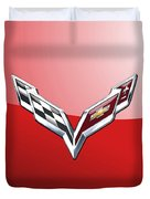 Chevrolet Corvette - 3d Badge On Red Duvet Cover