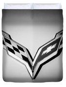 Chevrolet Corvette Emblem -0406bw Duvet Cover