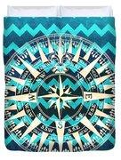 Chevron Print Compass Blue Duvet Cover