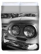 Chevy Corvair Headights And Bumper Black And White Duvet Cover