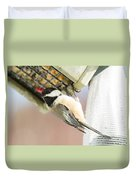 Chicadee At Suet Duvet Cover