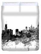 Chicago And New York City Skylines Mashup Duvet Cover