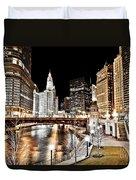 Chicago At Night At Wabash Avenue Bridge Duvet Cover