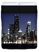 Chicago At Night High Resolution Duvet Cover