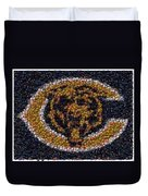 Chicago Bears Bottle Cap Mosaic Duvet Cover by Paul Van Scott