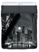 Chicago Black And White Nights Duvet Cover