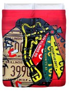 Chicago Blackhawks Hockey Team Vintage Logo Made From Old Recycled Illinois License Plates Red Duvet Cover