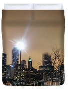 Chicago City At Night Duvet Cover