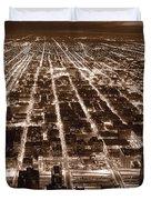 Chicago City Lights West B W Duvet Cover
