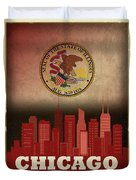 Chicago City Skyline State Flag Of Illinois Art Poster Series 012 Duvet Cover