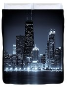 Chicago Cityscape At Night Duvet Cover